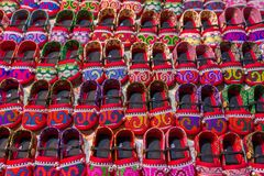 Traditional Thai hill tribe shoes. Traditional Thai hill tribe kids shoes stock images