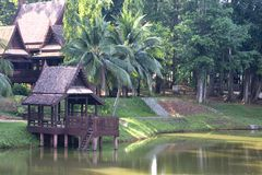 Traditional Thai House. In the tropical rainforest Stock Photo
