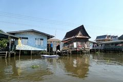 Traditional Thai house  on Chaopraya river front Royalty Free Stock Images