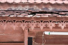Traditional thai house roof and eave board Royalty Free Stock Photos