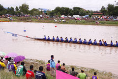 Traditional Thai long boats /Traditional Long Boat Race Championship Stock Images