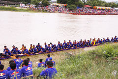 Traditional Thai long boats /Traditional Long Boat Race Championship Royalty Free Stock Photos
