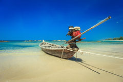 Traditional Thai Long tail boat on the beach in Thailand Stock Photo