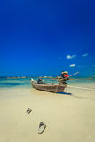 Traditional Thai Long tail boat on the beach in Thailand Stock Images