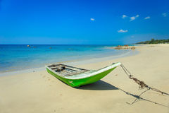 Traditional Thai Long tail boat on the beach in Thailand Stock Image