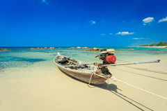 Traditional Thai Long tail boat on the beach in Thailand Royalty Free Stock Photos