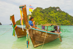 Traditional Thai long tail boat with Stock Photos