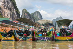 Traditional Thai long tail boats Royalty Free Stock Photo