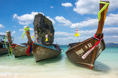 Traditional thai long tail boats Stock Photography