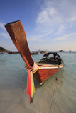 Traditional Thai Longtail boat on the beach Stock Photography