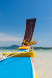 Traditional thai longtail boat at famous sunny Long Beach, Thail Stock Photography