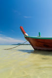 Traditional thai longtail boat at famous sunny Long Beach, Thail Royalty Free Stock Photos