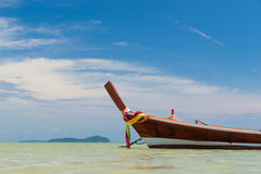 Traditional thai longtail boat at famous sunny Long Beach, Thail Royalty Free Stock Images