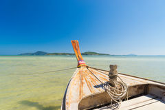 Traditional thai longtail boat at famous sunny Long Beach Stock Photo