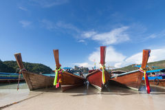 Traditional thai longtail boat at  Phi Phi  island ,Thailand Stock Photos