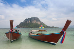 Traditional thai longtail boat at  Poda  island ,Thailand Royalty Free Stock Photo