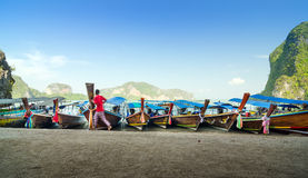 Traditional Thai Longtail boats at James Bond Island Royalty Free Stock Photography