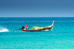 Traditional thai longtail fishing boat in the sea Royalty Free Stock Photography