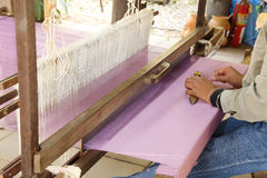 Traditional thai loom at work Royalty Free Stock Images