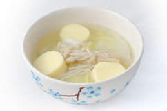 Traditional Thai mild soup. Contain vegetable and egg tofu Stock Image
