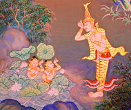 Traditional Thai mural painting Royalty Free Stock Photo