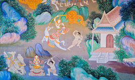 Traditional Thai mural Stock Image