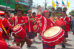 Traditional Thai musicians in Rocket festival 'Boon Bang Fai' Royalty Free Stock Images