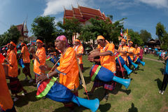 Traditional Thai musicians in Rocket festival 'Boon Bang Fai' Stock Photo