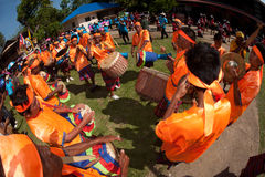 Traditional Thai musicians in Rocket festival 'Boon Bang Fai' Stock Images