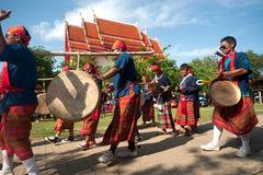 Traditional Thai musicians in Rocket festival 'Boon Bang Fai' Royalty Free Stock Photos