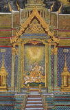 Traditional Thai paintings of Ramayana epic. Ancient Thai mural painting of Ramakien epic inside of Wat Phra Kaew Temple of the Emerald Buddha in Bangkok Stock Photography