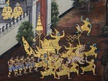 Traditional Thai paintings of Ramayana epic Stock Photos