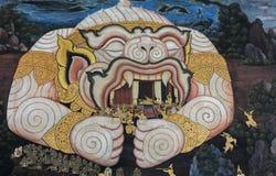 Traditional Thai paintings of Ramayana epic in Wat Phra Kaew Ban stock photo