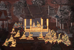 Traditional Thai paintings in Temple. The ancient traditional Thai paintings at Buddha Temple in Bangkok, Thailand. The story of these paintings are Ramayana Royalty Free Stock Image