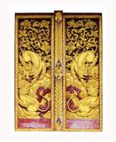 Traditional Thai pattern painting pattern of windows of Buddhist Royalty Free Stock Photos