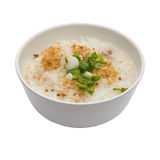 Traditional thai porridge rice gruel in white bowl, congee Stock Image