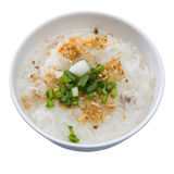 Traditional thai porridge rice gruel in white bowl, congee Stock Photography