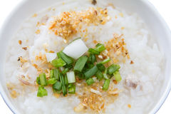 Traditional thai porridge rice gruel in white bowl, congee Stock Photo