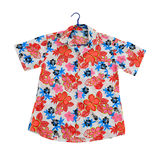 Traditional thai red flower shirt Stock Image