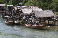 Traditional Thai riverside house village Royalty Free Stock Images