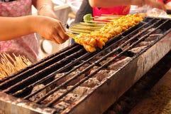 Traditional Thai steak  roasted pork. In market Thailand Stock Photos