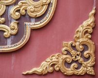 Traditional Thai stucco pattern. Traditional Thai stucco pattern on the church wall in the Thai temple Stock Photo
