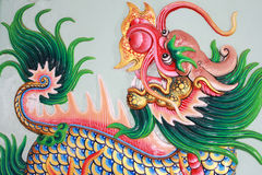 Traditional Thai style art with chines dragon. Traditional Thai style church wall art with chines dragon Royalty Free Stock Photos