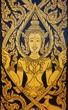 Traditional Thai style art painting. In temple wall.Thai paint in gold and black style Royalty Free Stock Photos