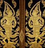 Traditional thai style art painting. At the door of temple Royalty Free Stock Photo
