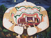 Traditional Thai style art painting. Traditional Thai style art painting on temple's wall (Ramayana story Stock Photography