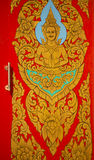 Traditional Thai style art painting on door in temple Royalty Free Stock Images