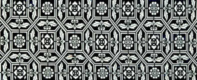 Traditional Thai style art painting pattern on the wall Stock Photo