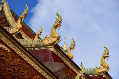 Traditional thai style art in the roof temple of buddhism Royalty Free Stock Image