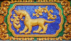 Traditional Thai style art of stucco in temple Stock Photo